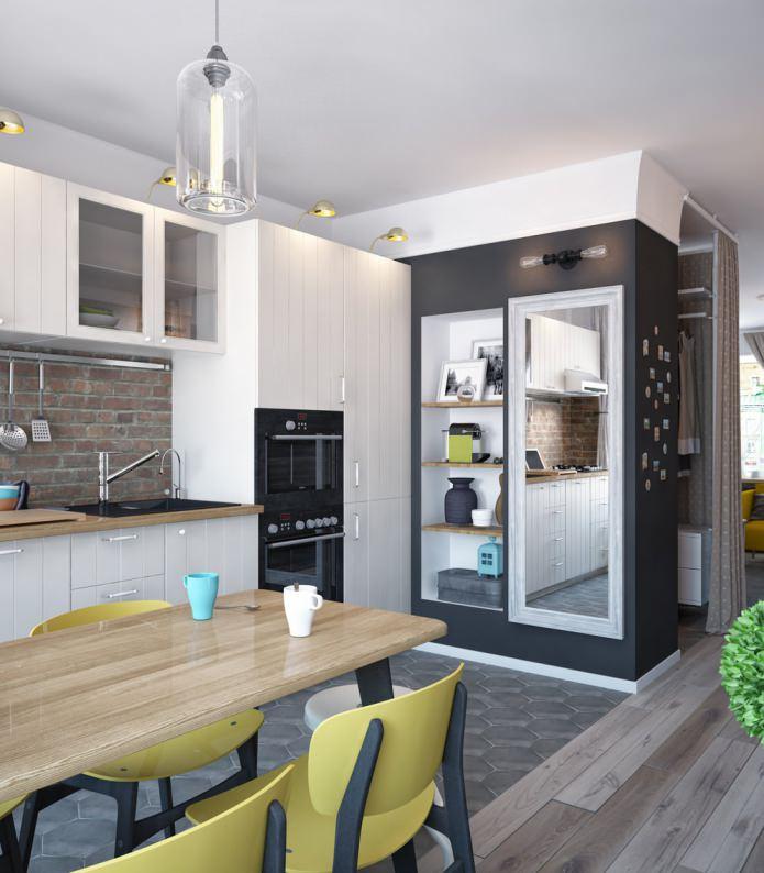 Дизайн кухни в однокомнатной квартире-распашонке