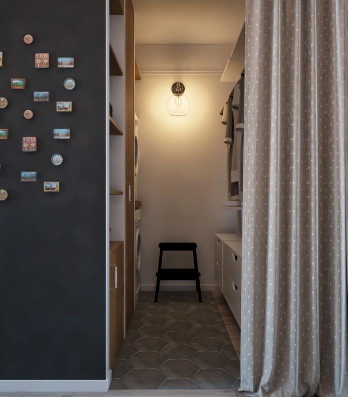 Дизайн гардеробной в однокомнатной квартире-распашонке