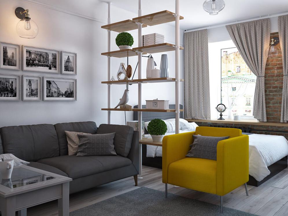 Дизайн комнаты 17 м кв в однокомнатной квартире