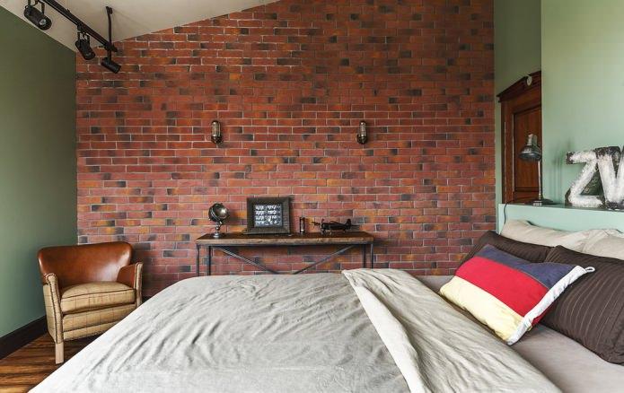 красный кирпич в интерьере спальни