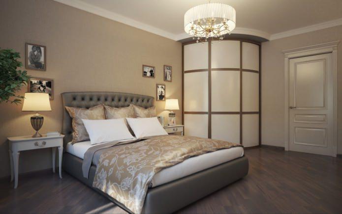радиусный угловой шкаф в спальне