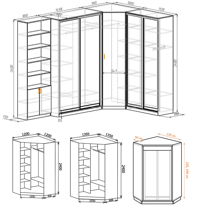 шкафы угловые фото размеры