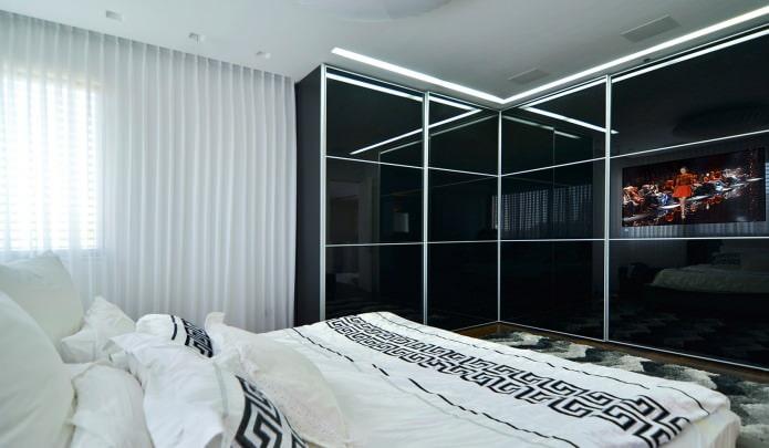 Дизайн углового шкафа в спальне