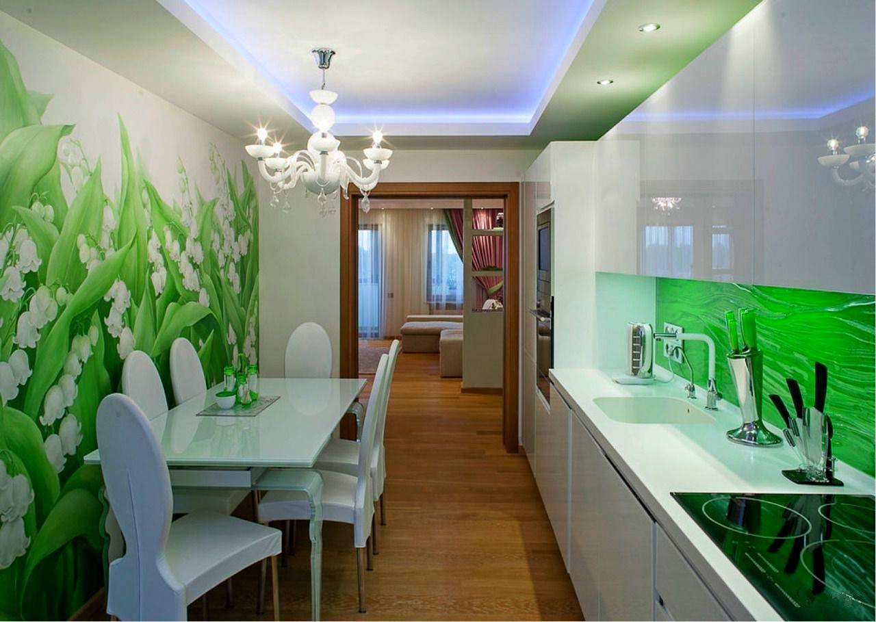 Зеленые обои на кухне: 55 стильных идей и фото.