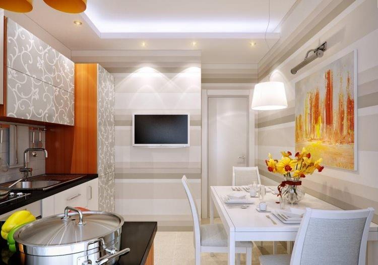 современные обои для маленькой кухни дизайн цвет идеи