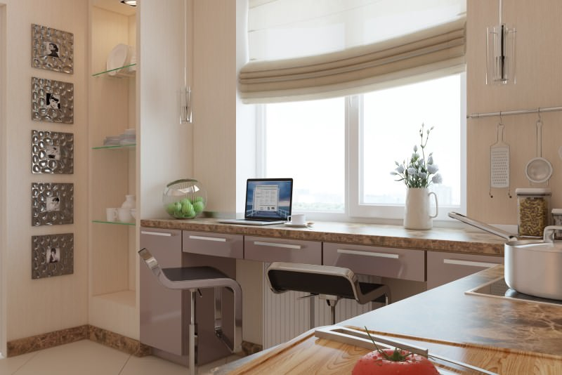 маленькая кухня с барной стойкой интерьер фото