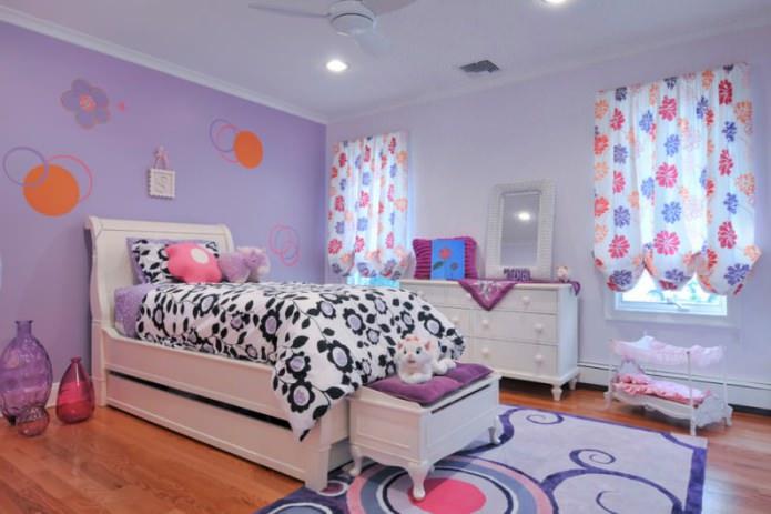 сиреневая комната для девочки