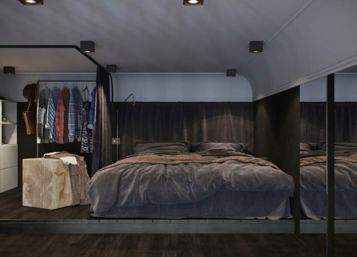 интерьер спальни в квартире-студии с высокими потолками