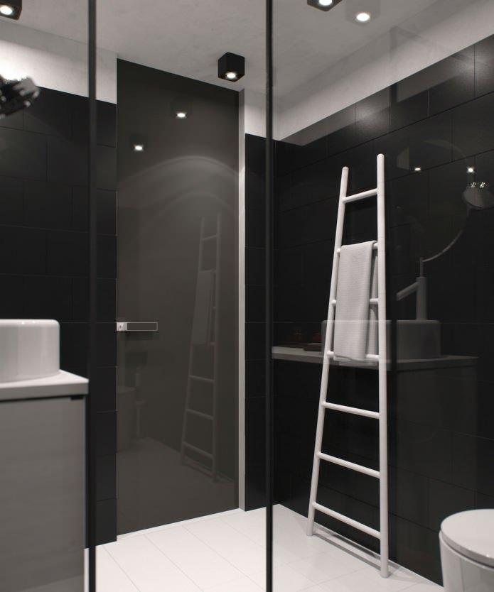 дизайн санузла в квартире-студии с высокими потолками