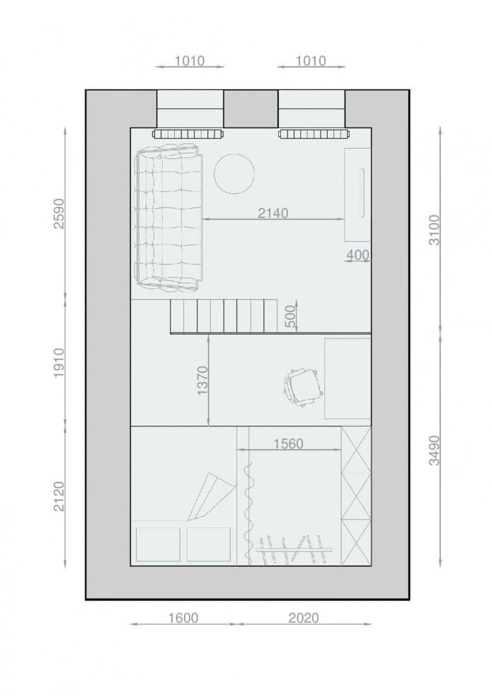 Планировка двухуровневой студии с высокими потолками