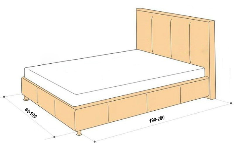 стандартные размеры кроватей схемы односпальной полуторной