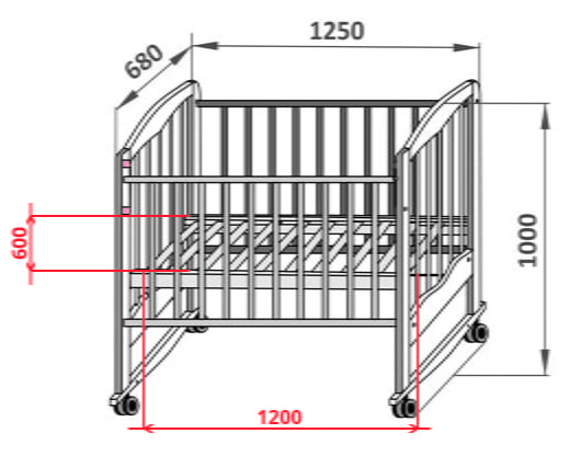 Размер детской кровати от 3