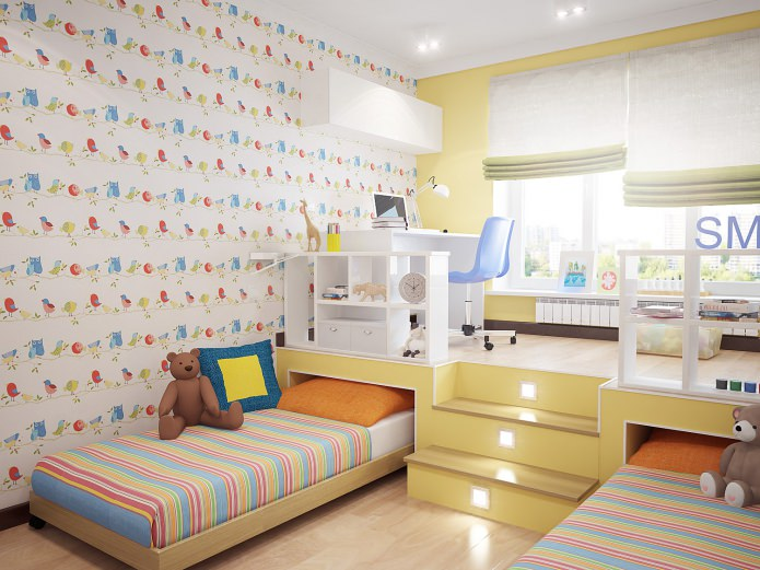 Детская кровать-подиум для двоих детей