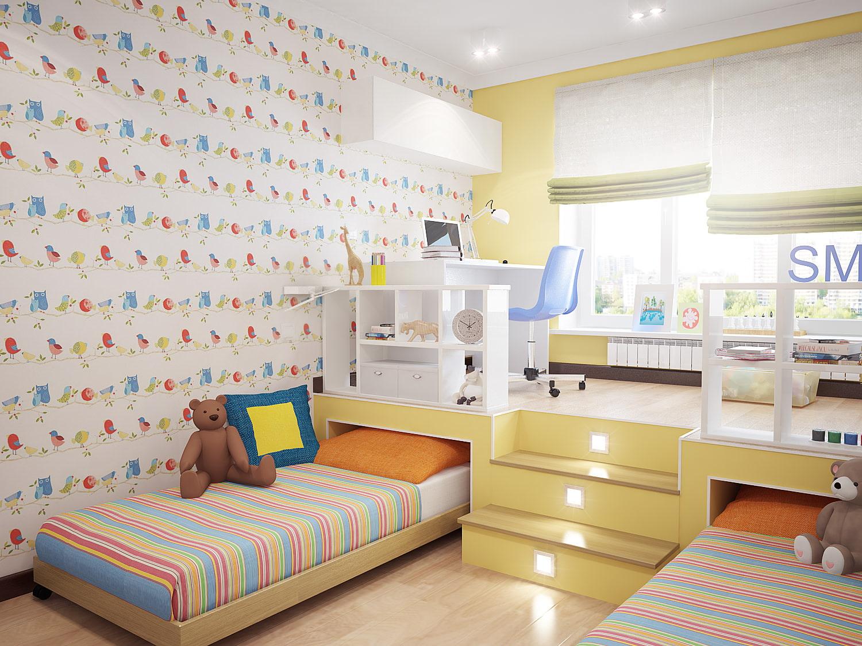 детские спальни для двоих детей мальчик и девочка фото