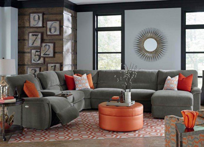 Угловой диван для гостиной с механизмом реклайнер