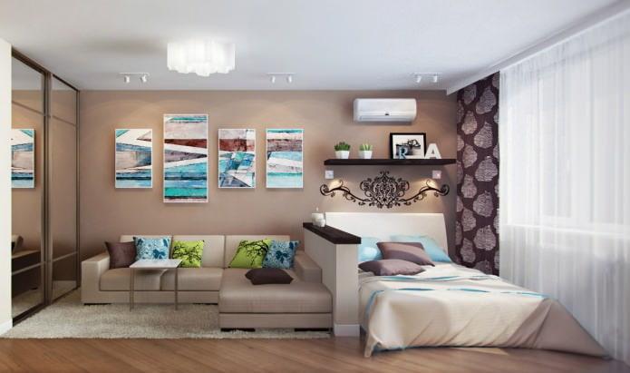 Маленький угловой диван в гостиной-спальне