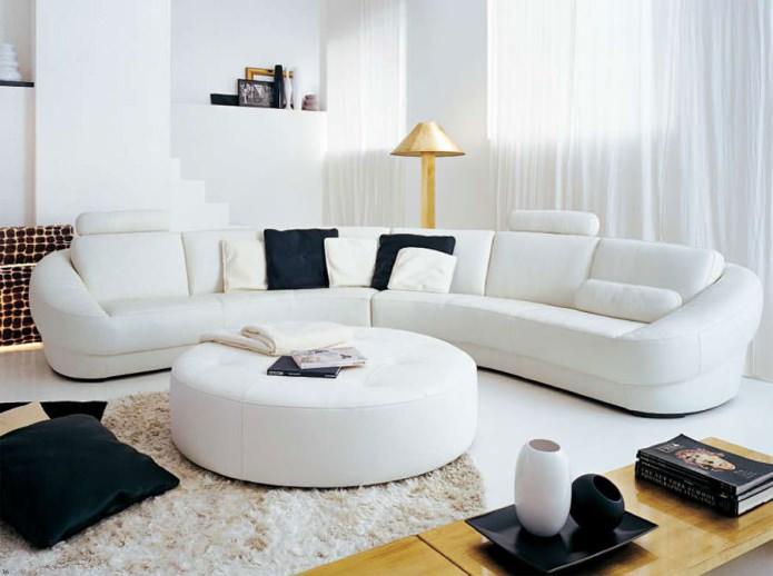 полукруглый угловой диван для гостиной