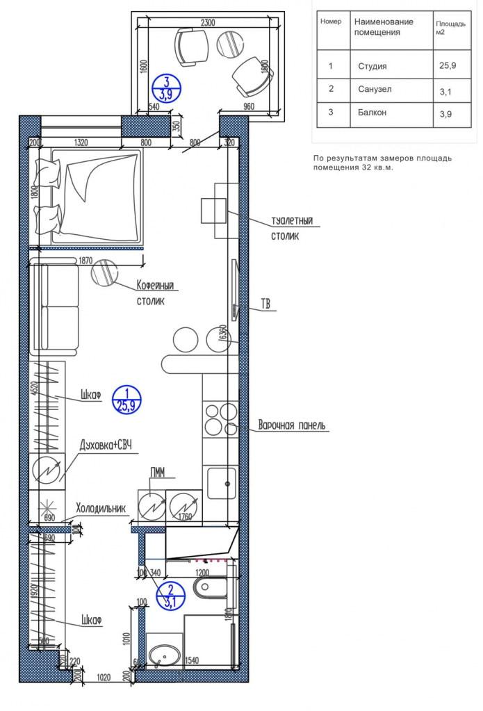 Планировка прямоугольной студии с одним окном