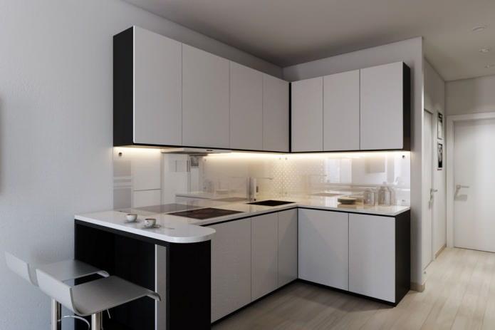 Дизайн кухни в прямоугольной студии с одним окном
