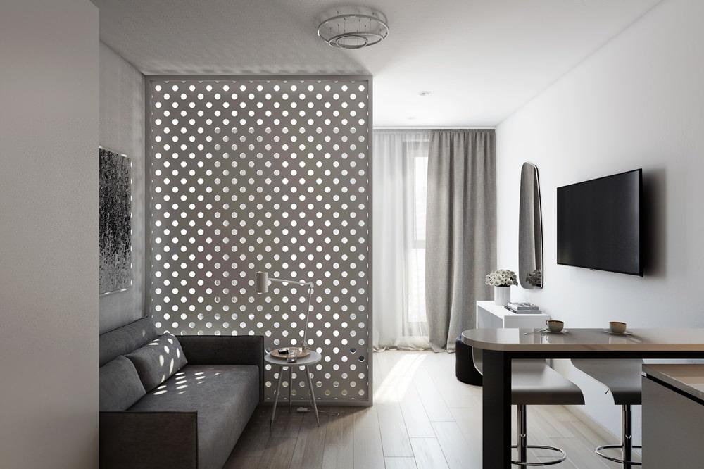 Дизайн прямоугольной студии с одним окном в стиле минимализм