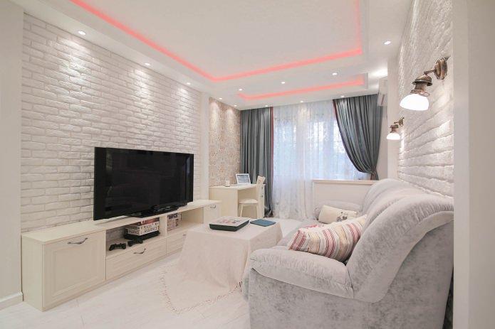 Обои под белый кирпич в дизайне гостиной