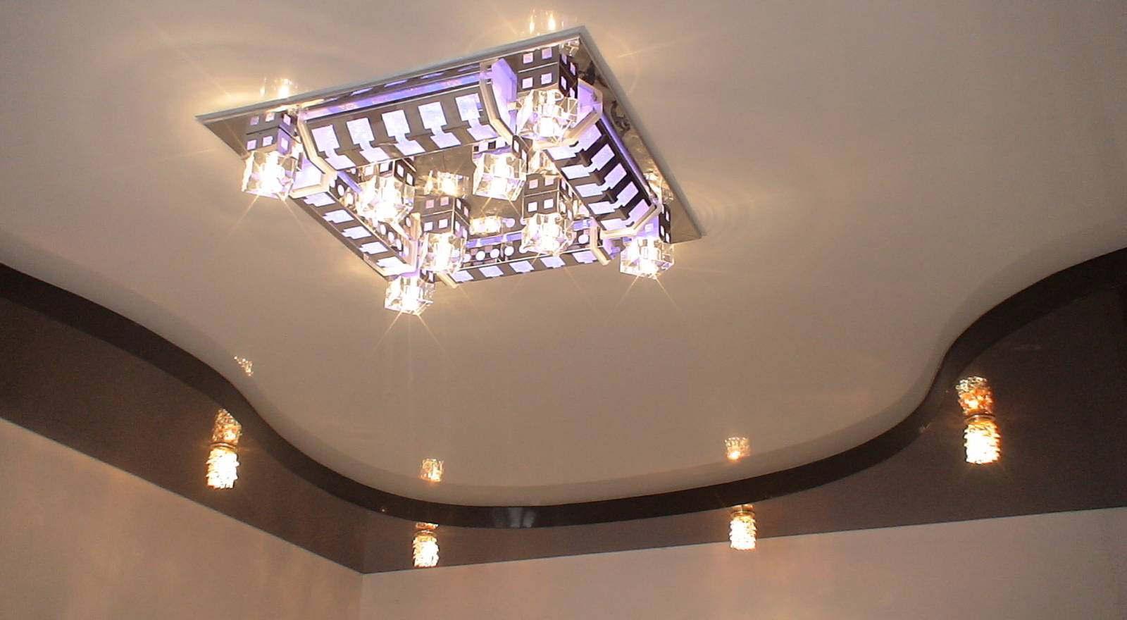 Потолок из гипсокартона своими руками с подсветкой на кухне