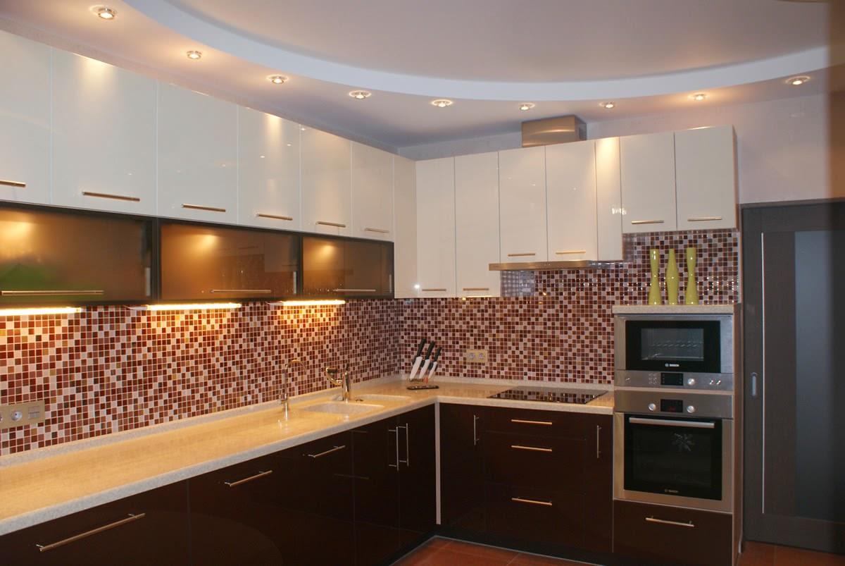 картинки потолок из гипсокартона кухня три горизонтальные полоски