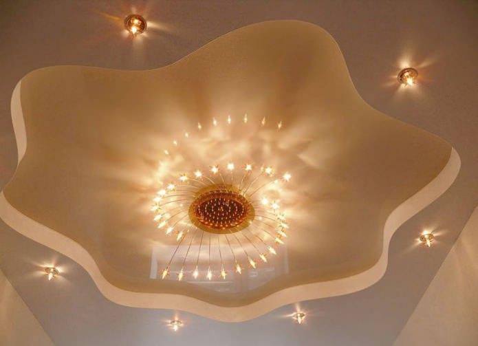 Потолок из гипсокартона с подсветкой на кухне