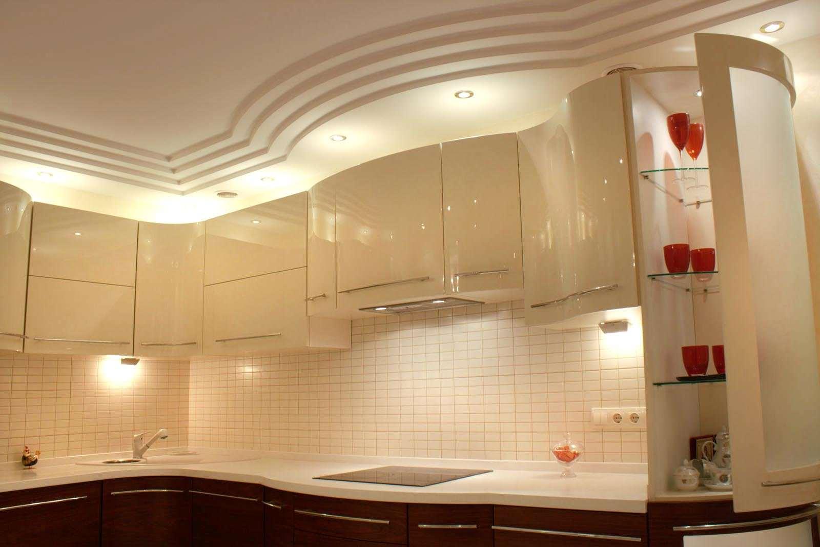 подвесные потолки фото из гипсокартона для кухни