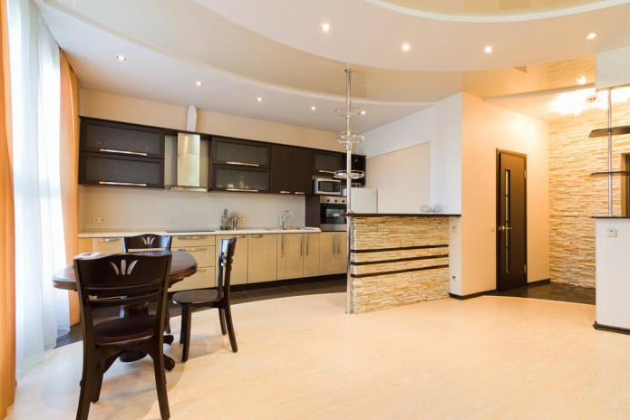 Отделка потолка гипсокартоном на кухне