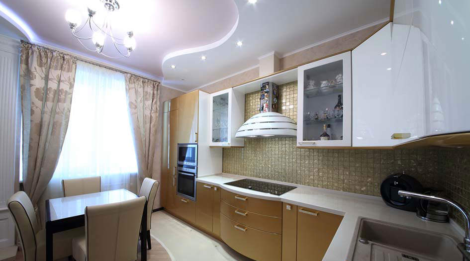 потолок из гипсокартона двухуровневый фото на кухне
