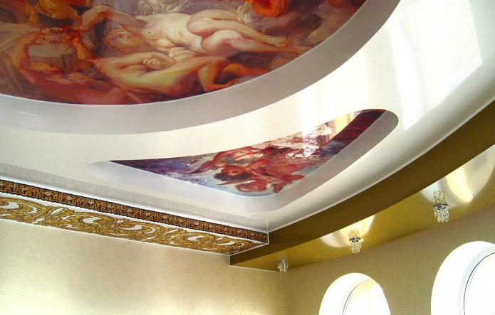 потолок из гипсокартона на кухне в разных уровнях