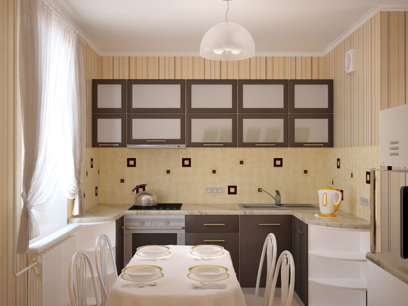 Обои маленькая кухня в хрущевке дизайн фото