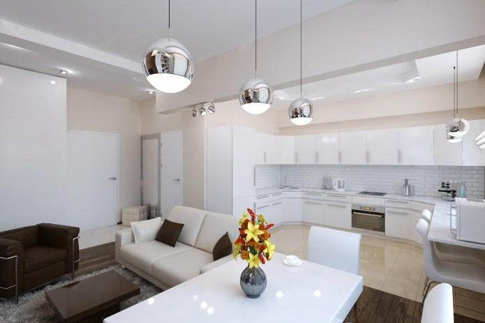 Кухня-гостиная 60 кв м дизайн