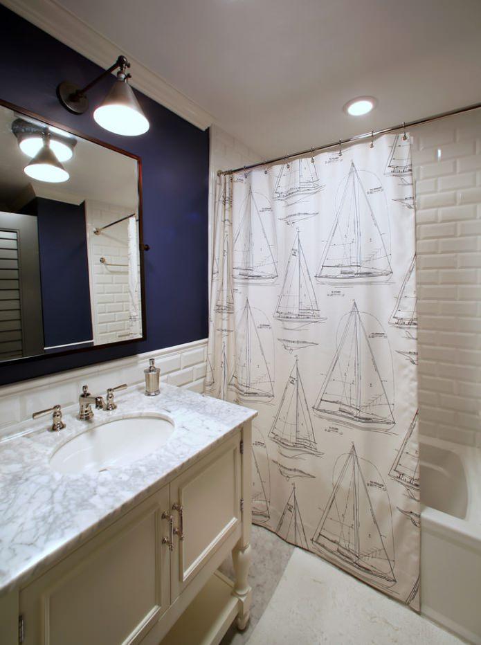 тканевая шторка для ванной комнаты