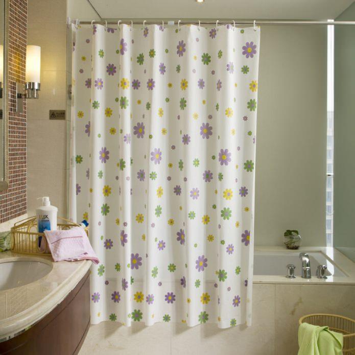шторка для ванной комнаты в цветочек
