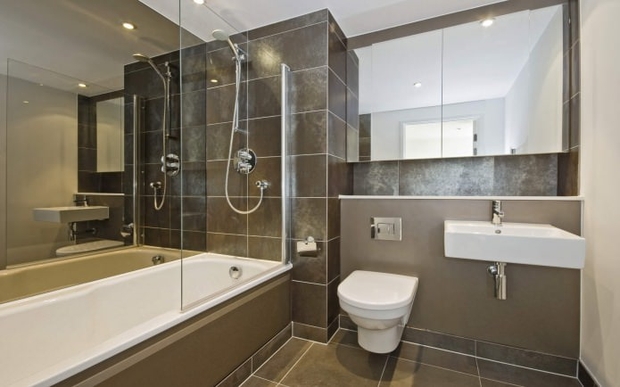Стеклянная неподвижная перегородка для ванной комнаты