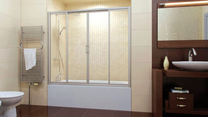 Стеклянная раздвижная перегородка для ванной комнаты
