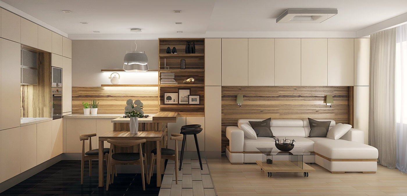 Современные гостиные совмещенные с кухней фото дизайн