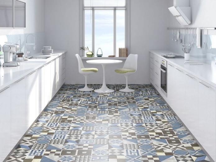 Плитка пэчворк на кухне в стиле минимализм