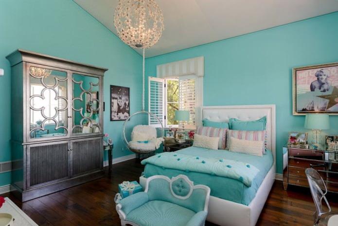 интерьер спальни для девушки в бирюзовом цвете