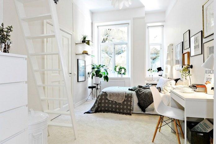 дизайн спальни для девушки в скандинавском стиле