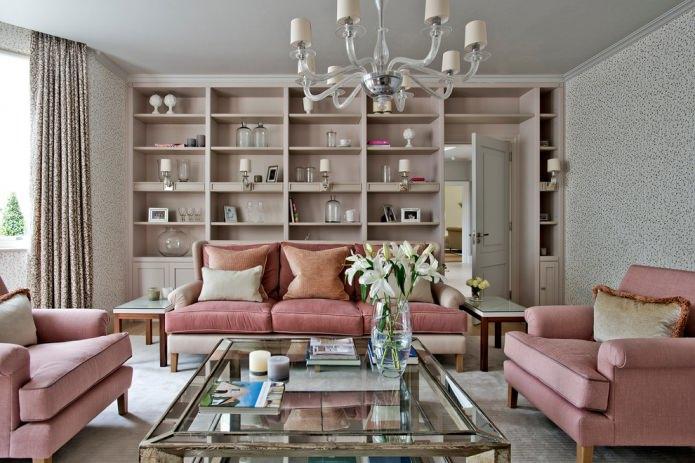 пыльно-розовый диван