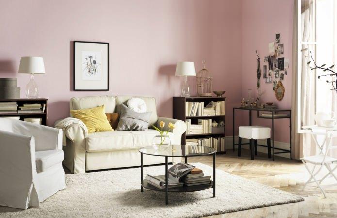 светло-розовая гостиная