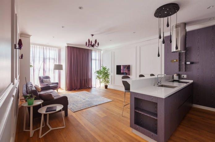 интерьер кухни-гостиной с разным цветом стен