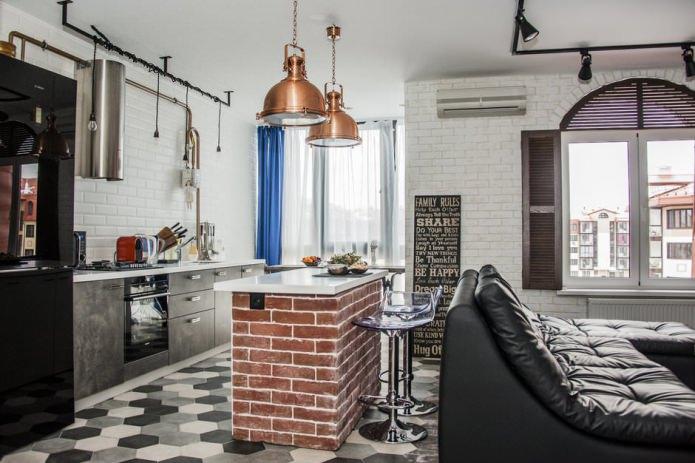 дизайн кухни-гостиной с барной стойкой с кирпичным основанием