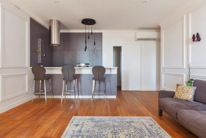 барная стойка в дизайне кухни-гостиной