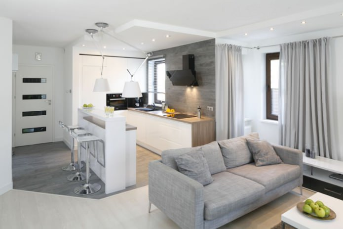 Дизайн современной кухни-гостиной с барной стойкой