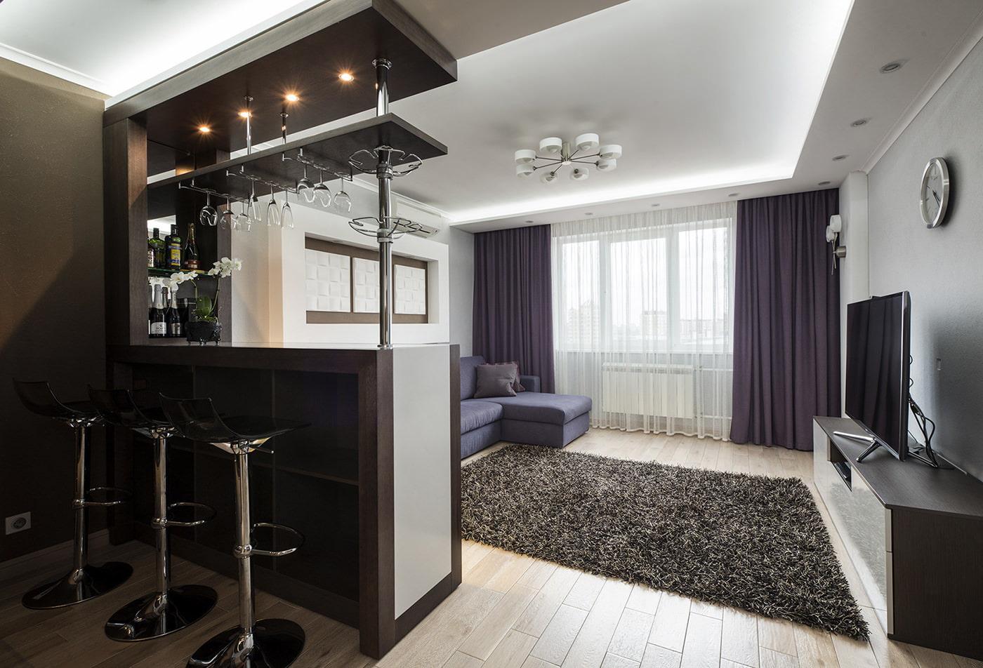 гостиная с кухней с барной стойкой фото