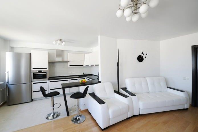 барная стойка в дизайне черно-белой кухни-гостиной